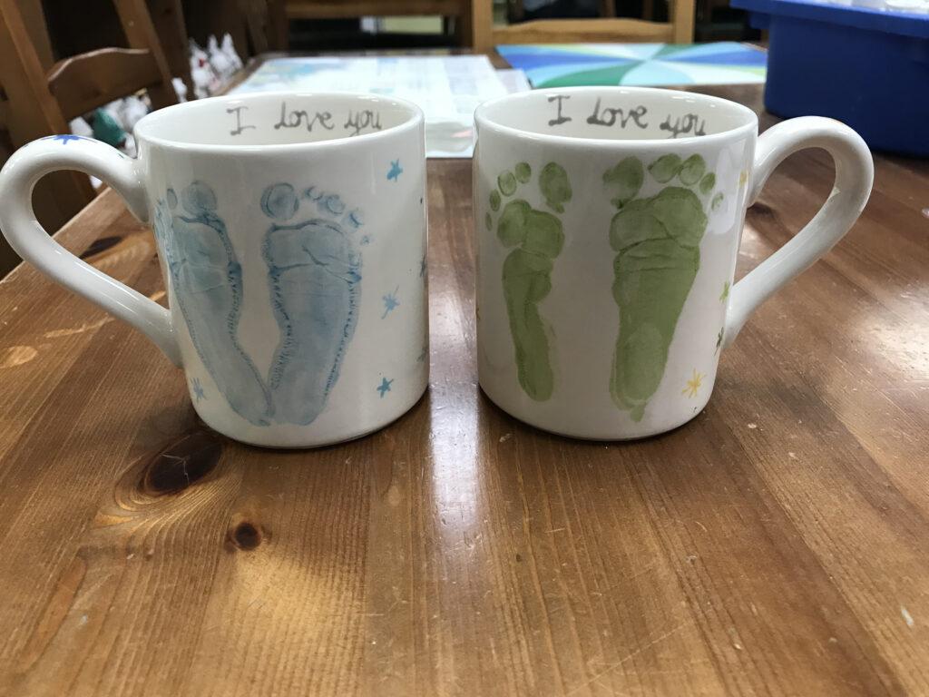 glazed mug foot print keepsake